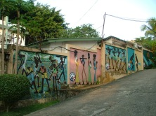 Murals inside the PC compound in Conakry.