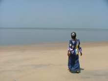 Madame Sylla at the beach in Koba.