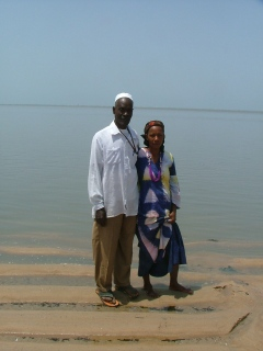 Mangue and Mdm. Sylla at the beach in Koba.