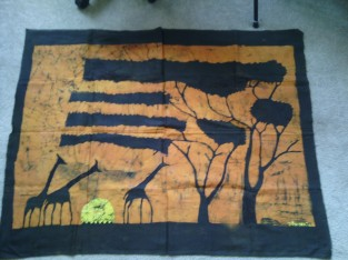 Sunset based on childhood in Tanzania, $100