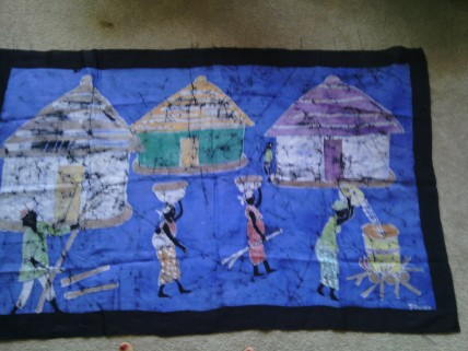 Traditional village scene, the process of creating palm oil depicted $150
